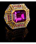 Stunning Art Deco style Ring / Heidi Daus faux amethyst peridot - Size 6... - $95.00