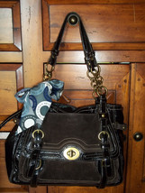 Coach Garcia Limited Edition Patent Leather Brown Suede Shoulder Bag 12710 - $90.00