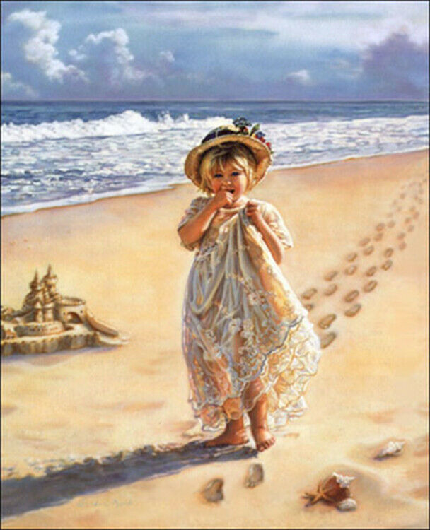 Primary image for Footprints in the Sand by Sandra Kuck Little Girl Walking On Beach Seascape 1216