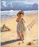 Footprints in the Sand by Sandra Kuck Little Girl Walking On Beach Seasc... - $34.65