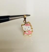14K Yellow Gold Enamel Hello Kitty Baby Pendant Pink Dancing Body - $93.48