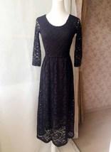 Black Crop Sleeve Stretch Long Lace dress BLACK Plus Size Lace Formal Dress NWT image 3
