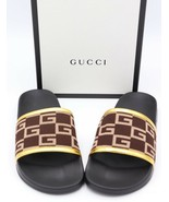 NIB GUCCI Pursuit GG Knit Brown Gold Slide Sandals New 8.5 - $285.00