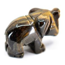 Tiger's Eye Gemstone Tiny Miniature Elephant Figurine Hand Carved in China image 4