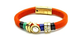 Orange Strap Bracelet With Clear Rhinestone Accents And Magnetic Closure - $7.49