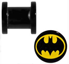 "DC Comics Batman Logo 1/2"" (12mm) 0000G Screw Fit Plug Set Acrylic Black... - $10.77"