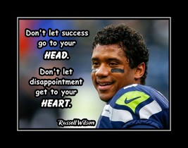 Russell Wilson Football Confidence & Motivation Poster, Head & Heart Wal... - $17.99+