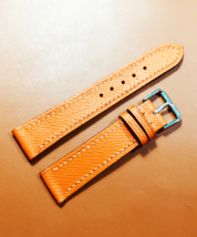 20mm/18mm Handmade Yellow Gold Genuine Cowhide Skin Leather Watch Strap ... - $17.00