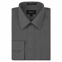 Omega Italy Men's Charcoal Grey Dress Shirt Long Sleeve Regular Fit - XL