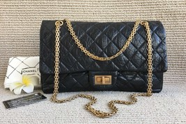 Auth Chanel Black 2.55 Reissue Quilted Age Calfskin 227 Jumbo Double Flap Bag