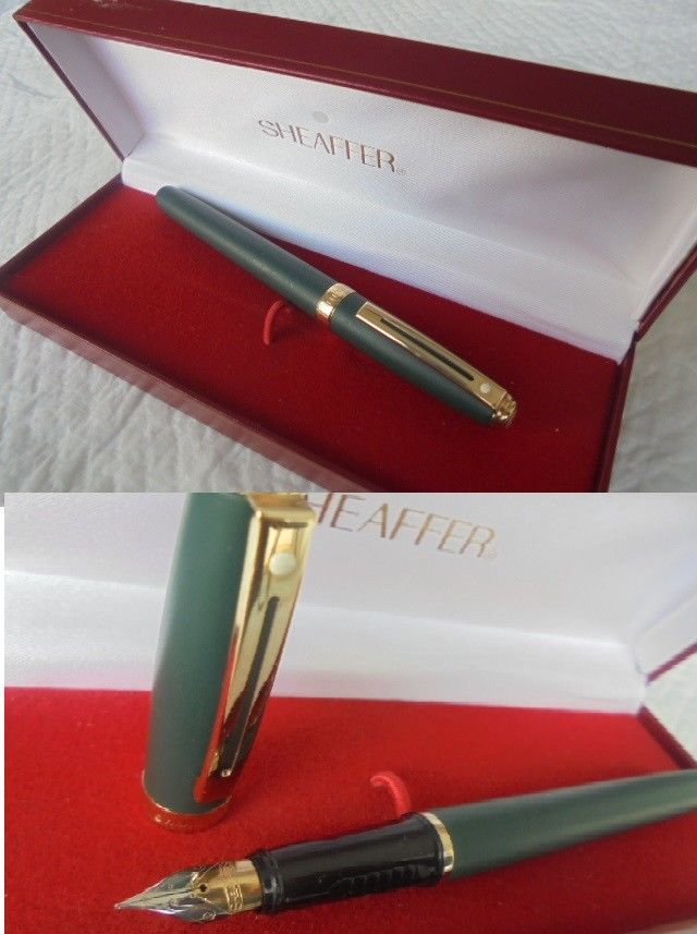 SHEAFFER PRELUDE PENNA STILOGRAFICA VERDE E ORO +SCATOLA GREEN FOUNTAIN PEN +BOX