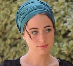 Turqoise Stretch Satin Silk Turban Tichel Snood, Head Scarf,Head Covering,Hijab - $45.54