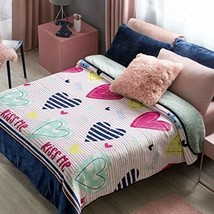 Hearts and Stripes Bedding with Sherpa Full Queen XL Soft and Warm Comfo... - $73.66