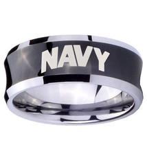 NAVY 8mm Black Concave Tungsten Carbide Wedding Band Ring - $43.99