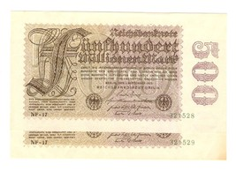 Germany 2psc Reichsbanknote 500 Millionen mark 1923 SERIAL NUMBER CONSEC... - $10.00