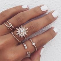 RscvonM New Vintage Big Flower Knuckle Rings Set For Women Gold Colour Crystal L - $9.79