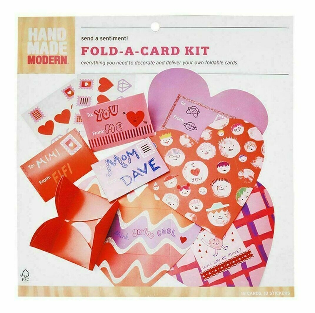 Valentine Day 18 Cards Hand Made Modern Fold A Card Kit Stickers New