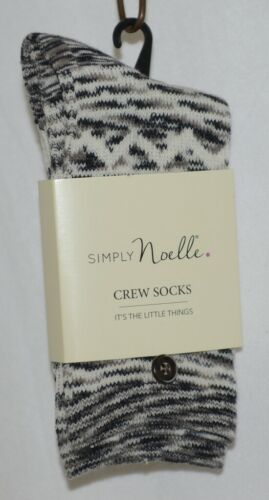 Simply Noelle Cream Black Gray Crew Sock One Size Fits Most