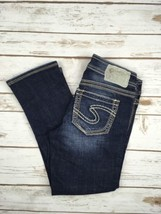 SILVER JEANS CAPRIS Mid Rise Aiko Cropped Embroidered Stretch Jean 25 - $24.97