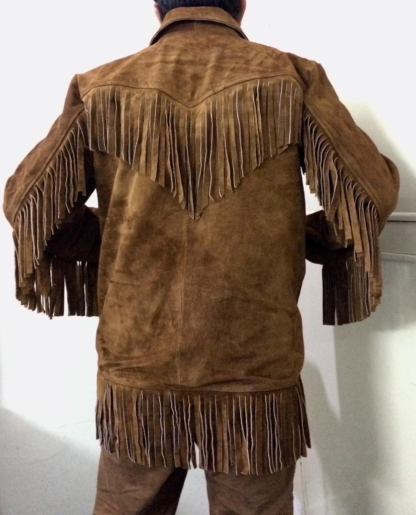 Men's New Native American Mountain Man Brown Buckskin Rendezvous Shirt FJ295