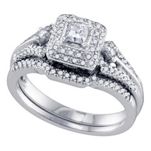 14k White Gold Princess Diamond Bridal Wedding Engagement Ring Band Set 1/2 Ctw - £980.24 GBP