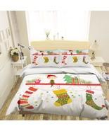 3D Christmas  Xmas 1 Bed Pillowcases Quilt Duvet Cover Set Single Queen ... - $90.76