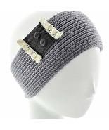 Gingas Galleria Grey Leather & Lace Button Crochet Wide Headband Ear Warmer - $14.50