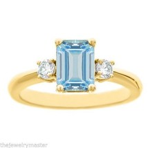 AQUAMARINE & DIAMOND ENGAGEMENT RING EMERALD CUT 8x6mm YELLOW GOLD 1.71 ... - £923.93 GBP