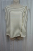 Calvin Klein Top Sz XL White Tan Striped Textured Sleeveless Casual Blouse - $24.18