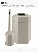 Commercial Trash Can & Cigarette Ash Tray Combo Restaurant Outdoor Garba... - $164.99