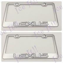 2X 3D LEXUS Emblem Stainless Steel License Plate Frame Rust Free W/ Caps - $36.62