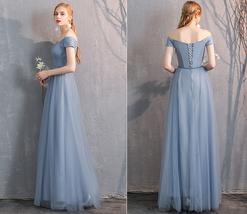 Bridesmaid Dress Off Shoulder Sweetheart Tulle Empire Dress Floor Length Wedding image 12