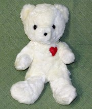 "Vintage EDEN White Teddy Bear RED FELTED HEART Plush Stuffed 12"" Made in... - $32.71"