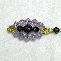 Two Toned Crystal Beaded Marquis Earrings image 2
