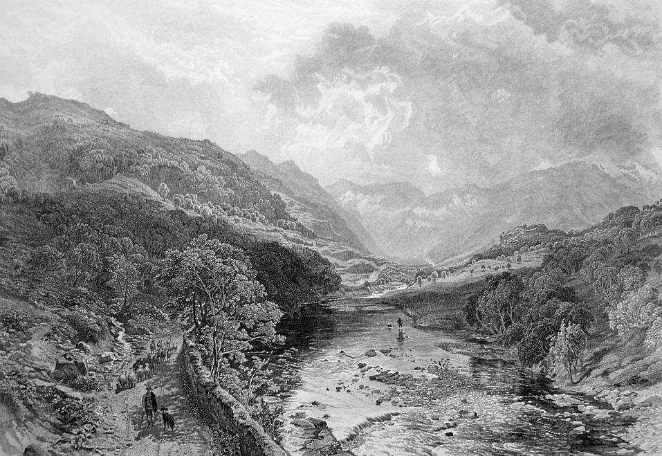ENGLAND Lake District Borrowdale Valley - 1875 Antique Print Engraving