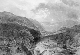 ENGLAND Lake District Borrowdale Valley - 1875 Antique Print Engraving - $13.49