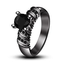 Black Rhodium Finish 925 Sterling Silver Black Diamond Womens Engagement Ring - $81.99
