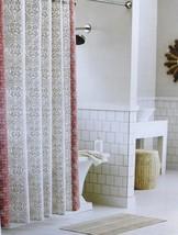 Threshold Coral Tan Rotary Print Shower Curtain NIP Cotton - $15.29