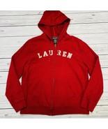 Ralph Lauren Jeans Co Womens Full Zip Hoodie Sweatshirt Red M Spell Out ... - $45.49