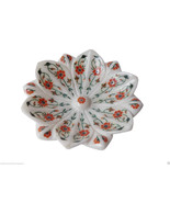 White Marble Fruit Bowl Real Carnelian Gem Marquetry Floral Kitchen Deco... - $371.97