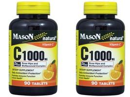 2 X 90 = 180 TABLETS VITAMIN C 1000MG PLUS ROSE HIPS BIOFLAVONOIDS Antio... - $18.80