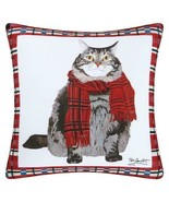 Fat Cat Tabby Indoor/Outdoor Printed Christmas Holiday Decorative Pillow... - $33.90