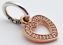 Authentic Pandora Heart Rose Gold Dangle Pendant Charm, 791357CZ, New, R... - $66.06