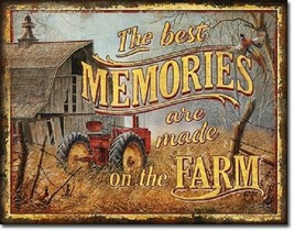 Farm Memories Best Farming Tractor Cabin Vintage Wall Decor Metal Tin Sign New - $15.99