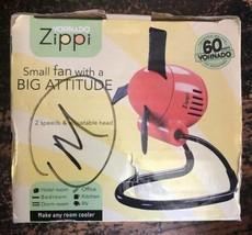 Zippi Personal Fan Safe Soft Nylon Blades Adjustable Head 2 Speed Orange - $12.86