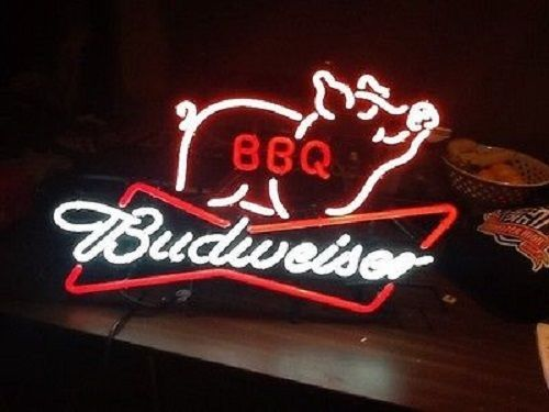 """New Budweiser BBQ Beer Bar Bud Light Barbecue Neon Sign 20""""x16"""""""