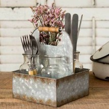 Farmhouse METAL BOX CADDY With FOUR BOTTLES Country Rustic Primitive Sto... - £44.30 GBP
