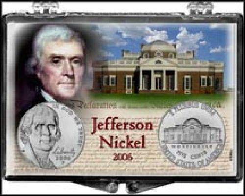 Jefferson Nickel 2006, 2x3 Snap Lock Coin Holder, 3 pack