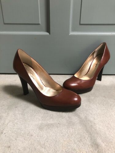 "New Jessica Simpson 8.5 M Brown 5"" Classic Round Toe Stiletto Heels Shoes"