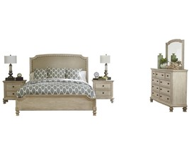 Ashley Demarlos 5PC Bedroom Set Cal King Upholstered - White - $2,730.19